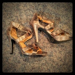 Bronze Snakeskin heeled sandals